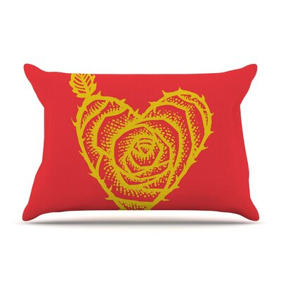 I Love Roses by BarmalisiRTB Heart Thorns Cotton Pillow Sham