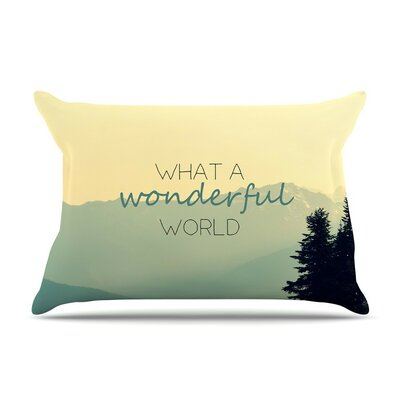What A Wonderful World by Robin Dickinson Tan Featherweight Pillow Sham