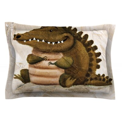 Smiley Crocodiley by Rachel Kokko Cotton Pillow Sham