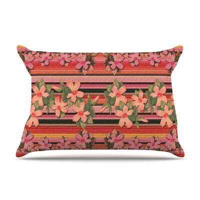 Peach Hibiscus Stripe by Nina May Cotton Pillow Sham