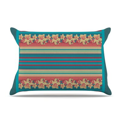 Mahalo Denim Stripe Floral by Nina May Cotton Pillow Sham