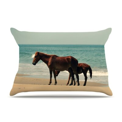 Sandy Toes Beach Horses by Robin Dickinson Cotton Pillow Sham