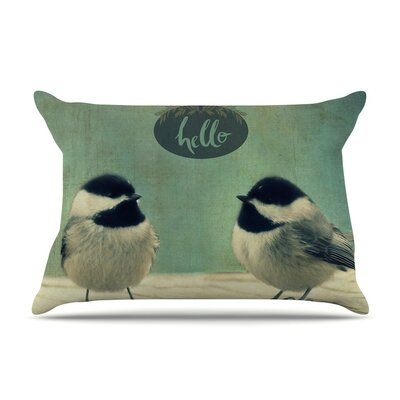 Hello Birds Typography by Robin Dickinson Cotton Pillow Sham