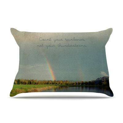 Count Rainbows Nature Typography by Robin Dickinson Cotton Pillow Sham