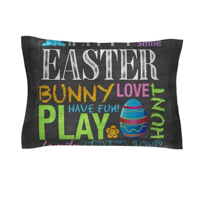 Happy Easter Text Pastels Typography by Snap Studio Cotton Pillow Sham