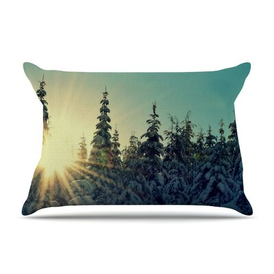 Shine Bright by Robin Dickinson Snowy Trees Cotton Pillow Sham