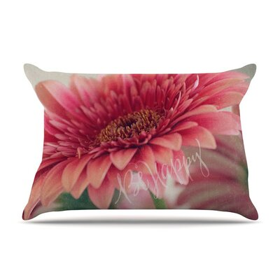 Be Happy by Robin Dickinson Floral Cotton Pillow Sham
