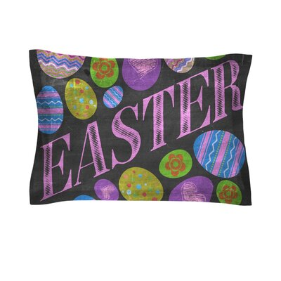 Easter Eggs by Snap Studio Pastel Typography Cotton Pillow Sham