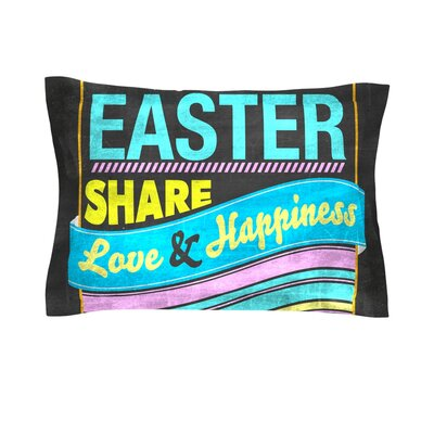Happy Easter by Snap Studio Pastels Typography Cotton Pillow Sham