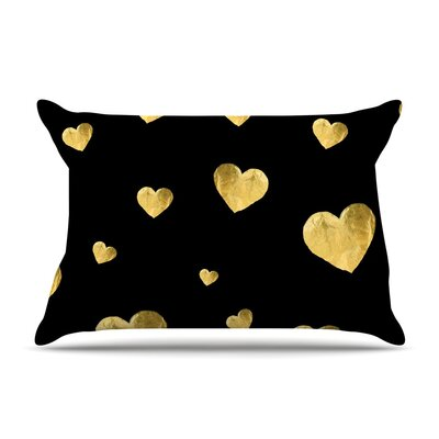 Floating Hearts by Robin Dickinson Gold Featherweight Pillow Sham