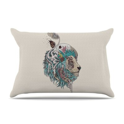 Unbound Autonomy Abstract Lion by Mat Miller Cotton Pillow Sham