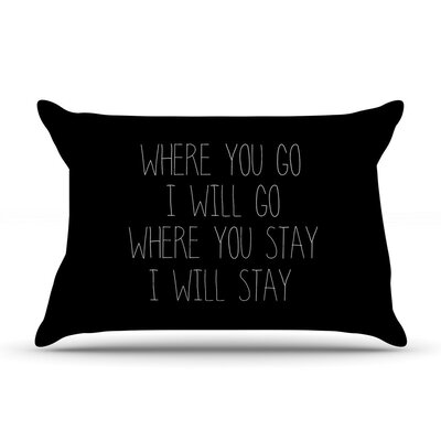 Where You Go Typography by Suzanne Carter Cotton Pillow Sham