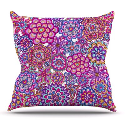 My Happy Flowers by Julia Grifol Outdoor Throw Pillow
