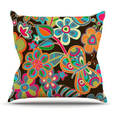 My Butterflies and Flowers by Julia Grifol Outdoor Throw Pillow