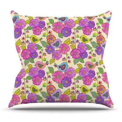 My Birds and My Flowers by Julia Grifol Outdoor Throw Pillow