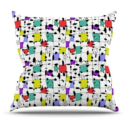 My Happy Squares by Julia Grifol Outdoor Throw Pillow