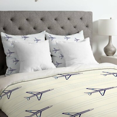 Airplanes and Stripes Duvet Cover Size: King