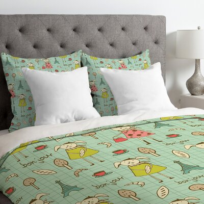 Heather Dutton Bonjour Lapin Duvet Cover Size: Twin