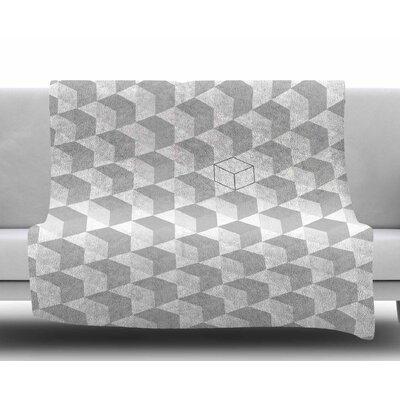 Greyscale Cubed Fleece Blanket Size: 50 W x 60 L