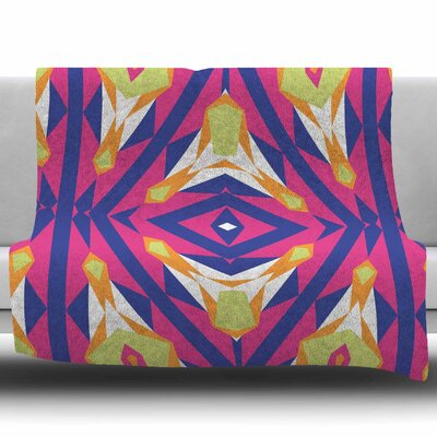 Tulip Tribal by Miranda Mol Fleece Blanket Size: 50 W x 60 L