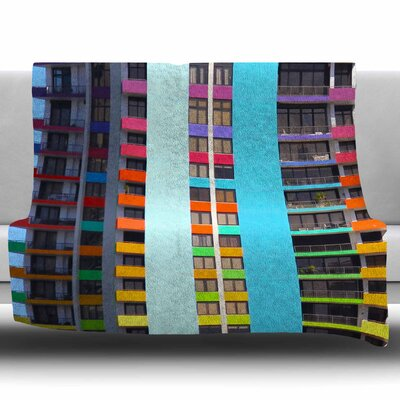 The Rainbow Building by Philip Brown Fleece Blanket Size: 50 W x 60 L