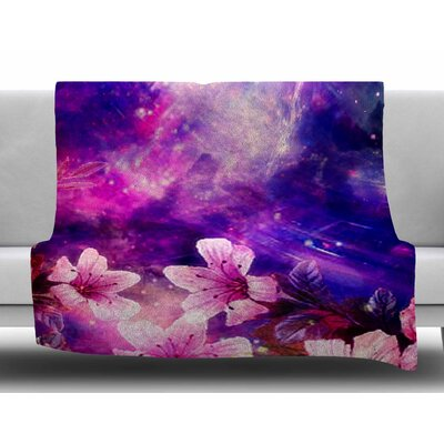 Space Flowers by Shirlei Patricia Muniz Fleece Blanket Size: 60 W x 80 L