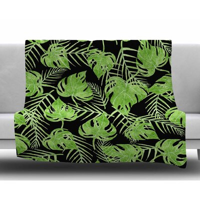 Leaves by Strawberringo Fleece Blanket Size: 50 W x 60 L