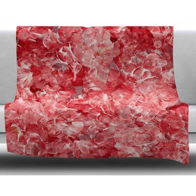 Bloom On! by Ebi Emporium Fleece Blanket Color: Red/White, Size: 50 W x 60 L
