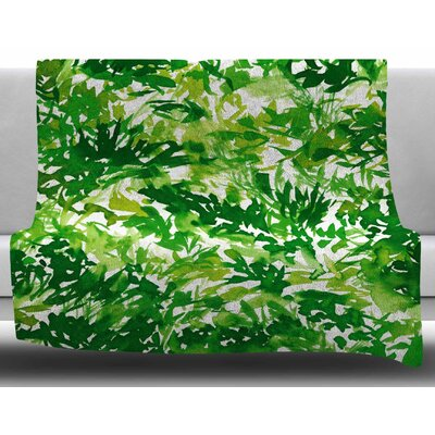 In the Meadow by Ebi Emporium Fleece Blanket Color: Green, Size: 50 W x 60 L