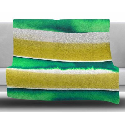 Summer Vibes 4 by Ebi Emporium Fleece Blanket Color: Green/White/Yellow, Size: 50 W x 60 L
