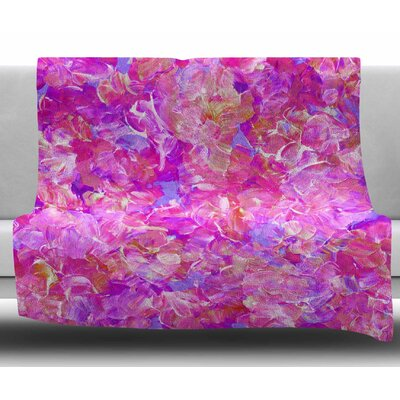Bloom On! by Ebi Emporium Fleece Blanket Color: Pink, Size: 60 W x 80 L