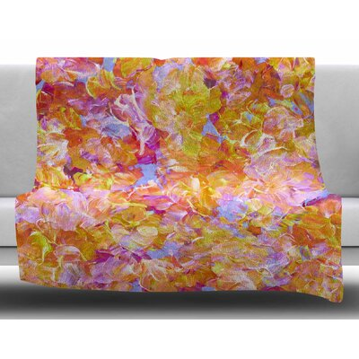 Bloom On! by Ebi Emporium Fleece Blanket Color: Yellow, Size: 50 W x 60 L