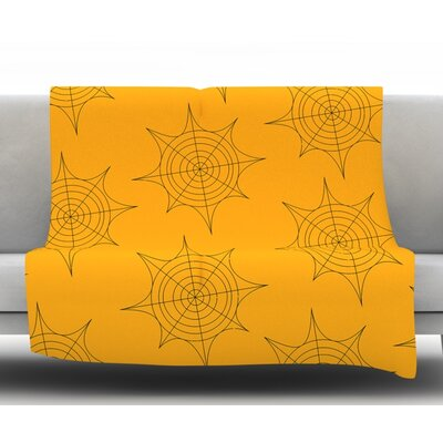 Spiderwebs Fleece Blanket Size: 60 W x 80 L, Color: Yellow