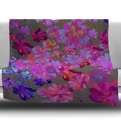 Purple Flowers by Marianna Tankelevich Fleece Blanket Size: 60 W x 80 L