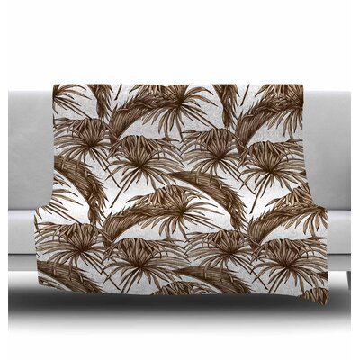 Palmtastic Fleece Blanket Color: Tan, Size: 60 W x 80 L