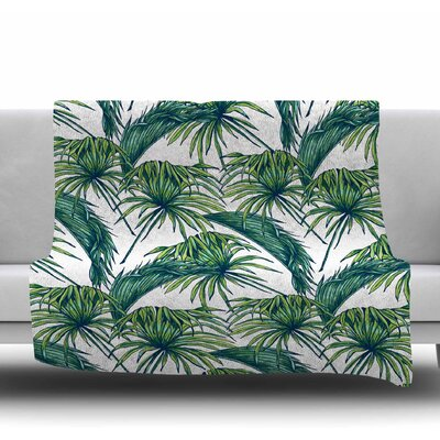 Palmtastic Fleece Blanket Color: Green, Size: 60 W x 80 L