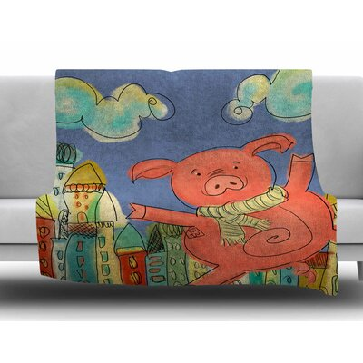 Happy Urban Pig by Carina Povarchik Fleece Blanket Size: 60 W x 80 L