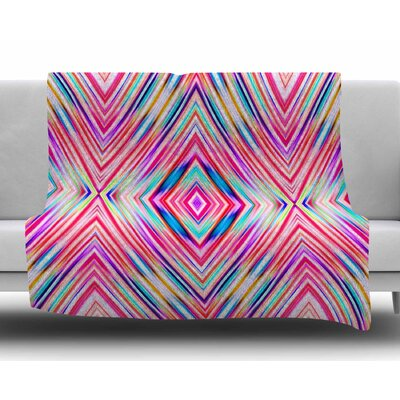 Colorful Tribal Ethnic Ikat by Dawid Roc Fleece Blanket Color: Pink, Size: 60 W x 80 L
