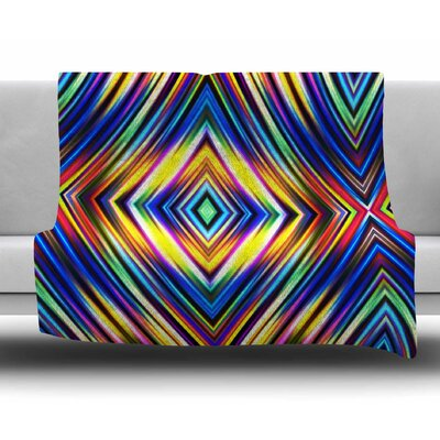 Multi Colors Modern Tribal by Dawid Roc Fleece Blanket Size: 50 W x 60 L