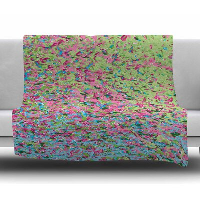 Spring Puddle Abstract by Empire Ruhl Fleece Blanket Size: 50 W x 60 L