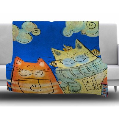 Happy Cats In The City by Carina Povarchik Fleece Blanket Size: 50 W x 60 L