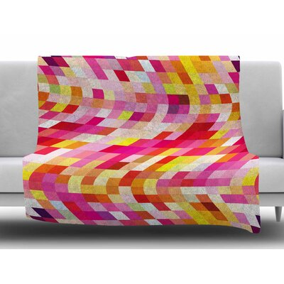 Colorful Geometric Movement by Dawid Roc Fleece Blanket Size: 50 W x 60 L