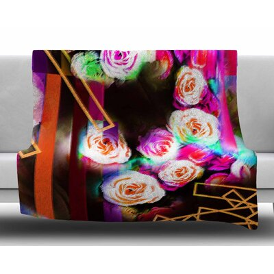 Colorful Rose-Floral Geometric by Dawid Roc Fleece Blanket Size: 60 W x 80 L