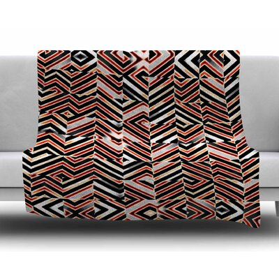 Maze Geometric Abstract 1 by Dawid Roc Fleece Blanket Size: 60 W x 80 L
