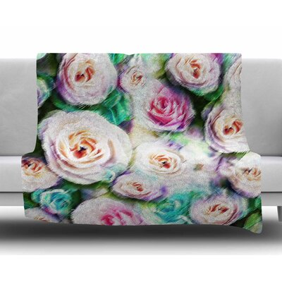 Sweet Rose Flowers by Dawid Roc Fleece Blanket Color: Green/Pink, Size: 60 W x 80 L
