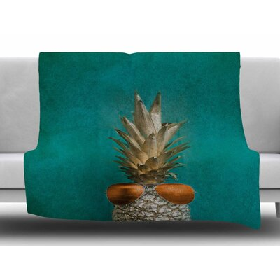 24 Karat Pineapple by Chelsea Victoria Fleece Blanket Size: 60 W x 80 L
