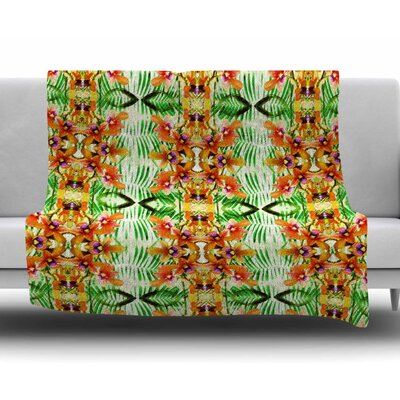Colorful Tribal Mosaic by Dawid Roc Fleece Blanket Size: 50 W x 60 L
