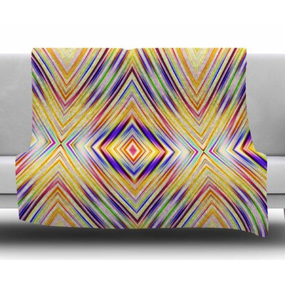 Colorful Tribal Ethnic Ikat by Dawid Roc Fleece Blanket Color: Yellow, Size: 60 W x 80 L