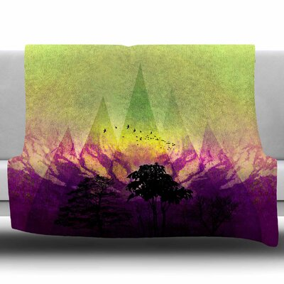 Trees Under Magic Mountain by Pia Schneider Fleece Blanket Size: 60 W x 80 L