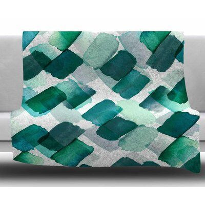 Strokes Of Genius by Ebi Emporium Fleece Blanket Size: 50 W x 60 L, Color: Teal